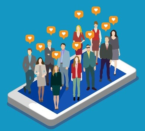 Concept of business social networking and communication.