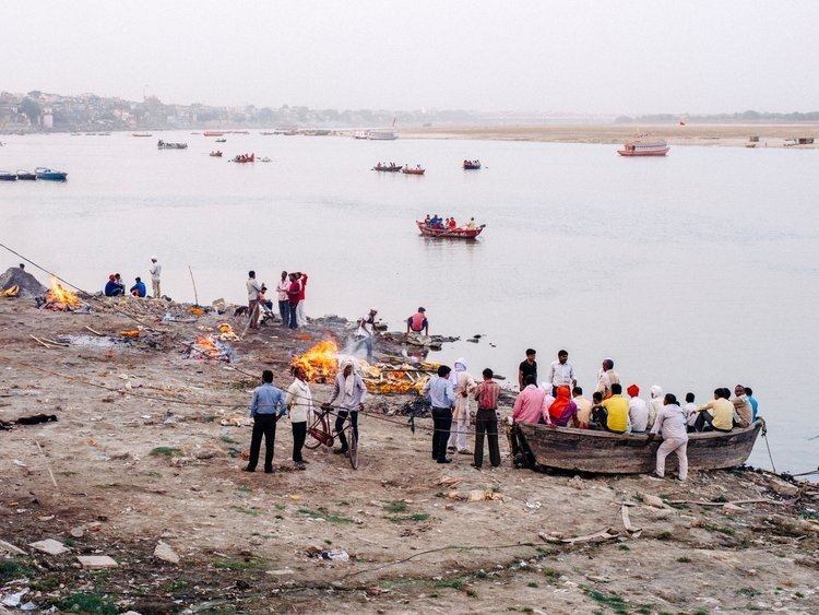 Cremation by the Ghats of Ganges