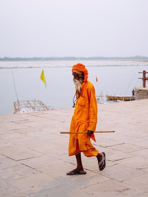 Saint by the River Ganges in Varanasi