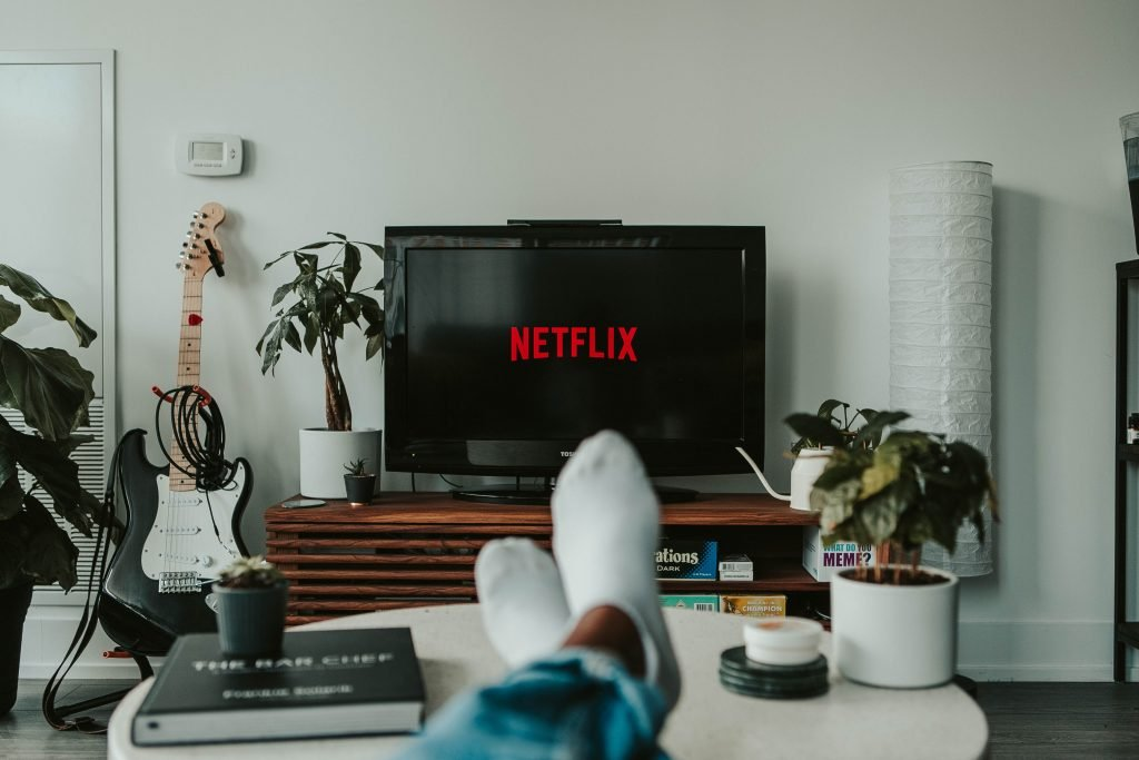 person watching Netflix
