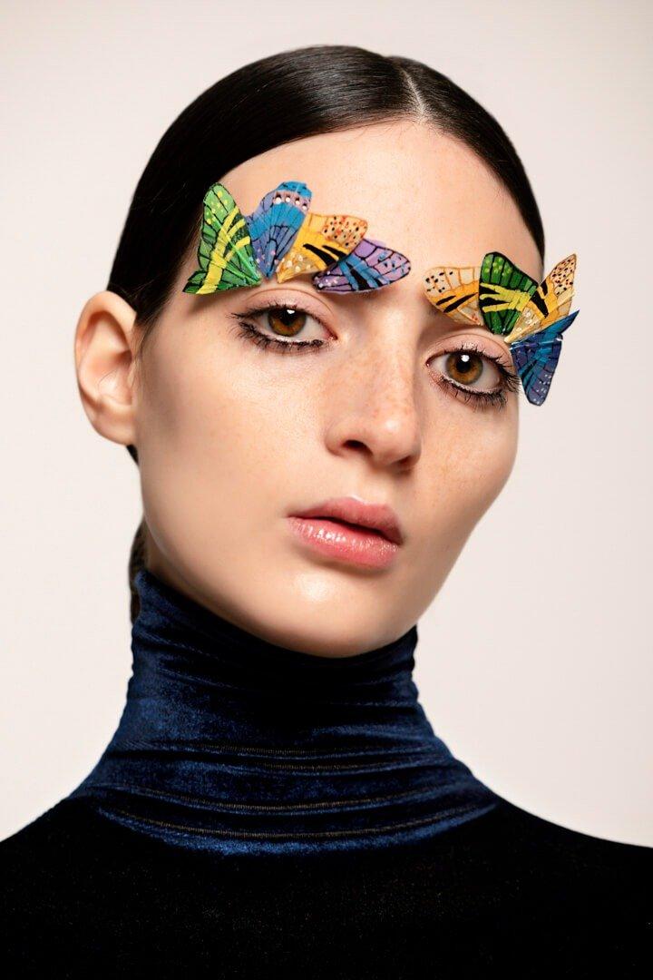 fresh talent portrait of girl with butterflies