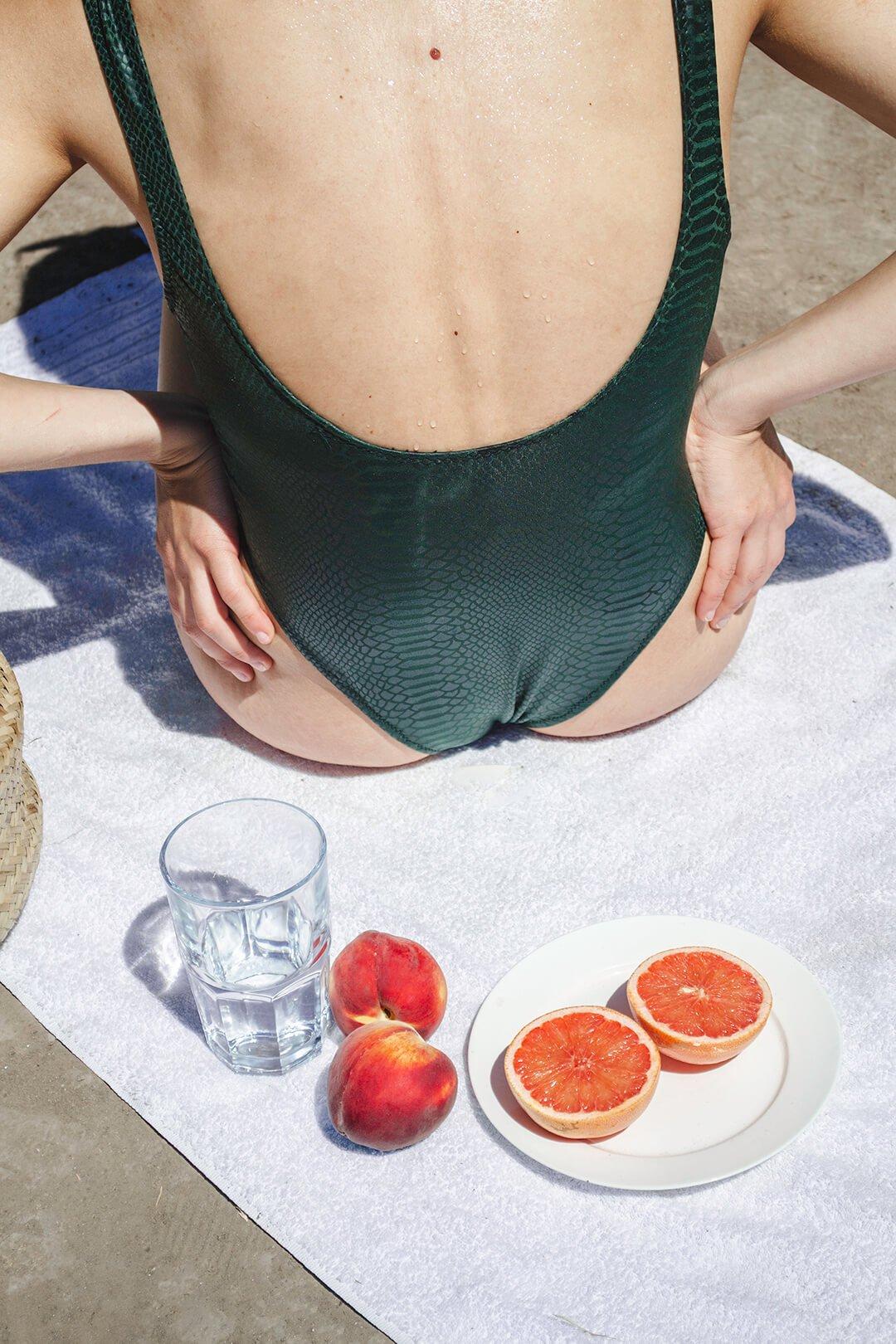 fresh talent beach picture, oranges, swimsuit