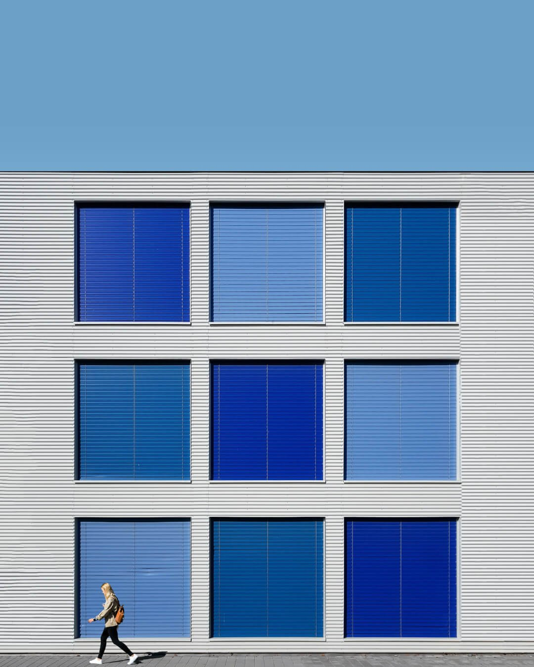 architecture photography of blue building