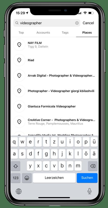 find a videographer on Instagram